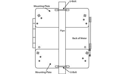 """PDA6260 Steel 2"""" Pipe Mounting Kit for PD2 & PD4"""