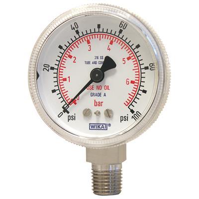 Bourdon Tube Pressure Gauge, Stainless Steel - 130.15
