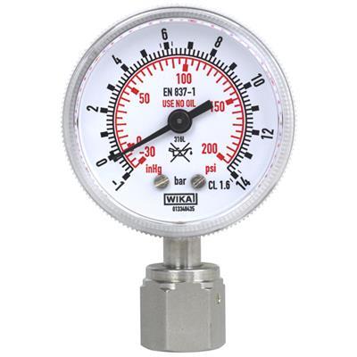 Bourdon Tube Pressure Gauge, Stainless Steel - 230.15